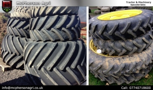Tractor wheels and tyres to fit most tractors  Various sizes and types of wheels and tyres to fit most tractors, including Low ground pressure, 11.2x48 & 11.2x32 rowcrops, 800/ 65 R 32 Michelin Wheels 8 Stud.